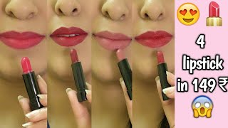 NYBae Mini Lipsticks Kit   Argan Oil infused   4 Matte Lipsticks in 150 Rs   Review & swatches 