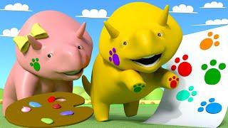 Educational cartoon - Renkleri öğren - Pençe boyaması - 🚚 Çocuklar için Eğitsel Çizgi Film 🚚
