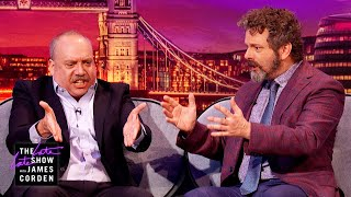 Paul Giamatti & Michael Sheen Have a Fight Hard to Understand - #LateLateLondon