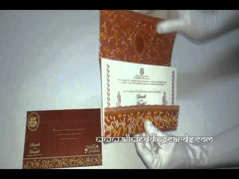 W-8066,60 GSM,  Maroon Color,  Woolly Paper, Indian Designer Wedding Cards