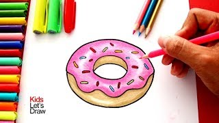 Cómo dibujar una DONA paso a paso | How to draw a Donut easy