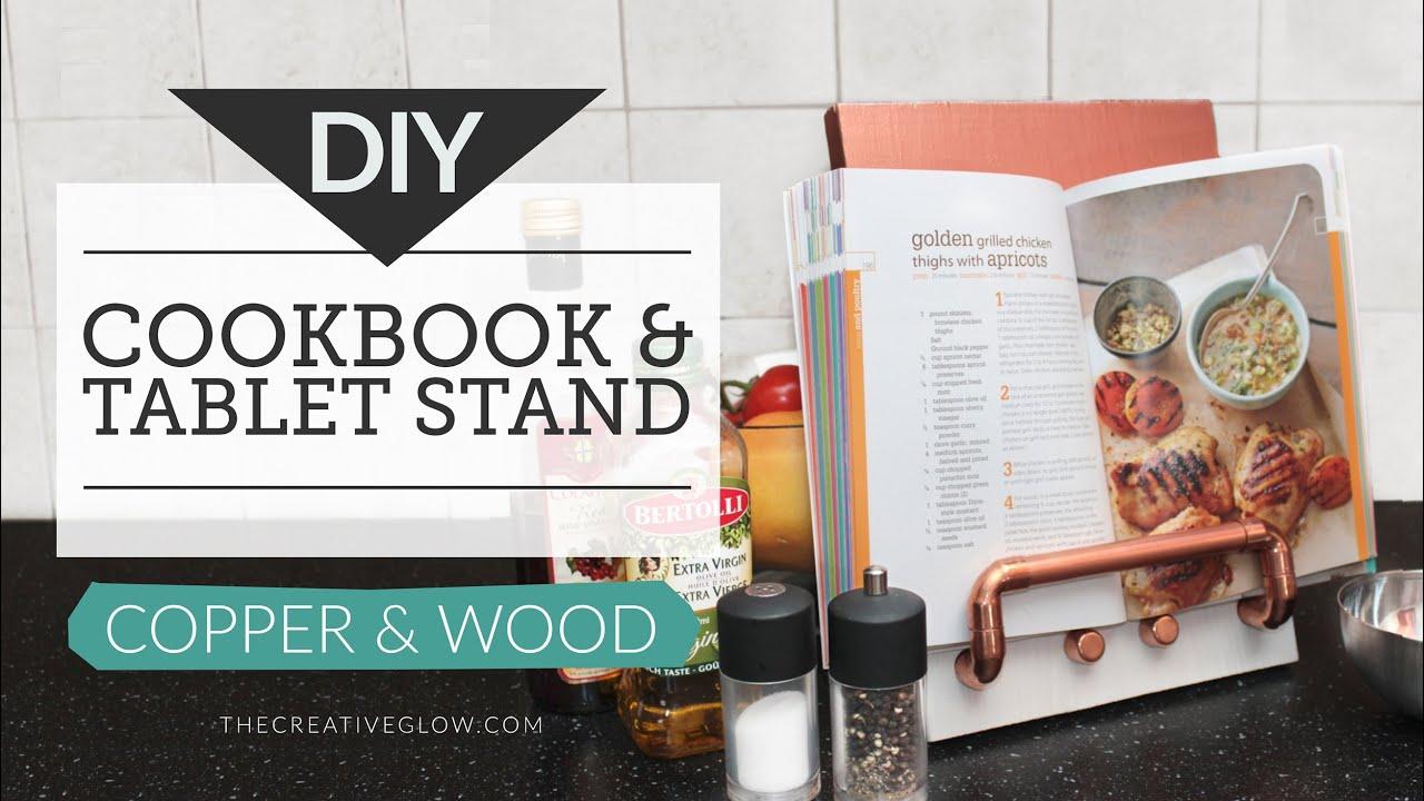DIY Cookbook Stand U0026 Tablet Stand   Copper U0026 Wood