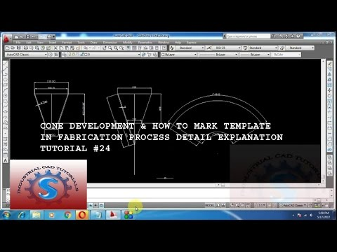 CONE DEVELOPMENT IN FABRICATION BY USING AUTOCAD TUTORIAL #24