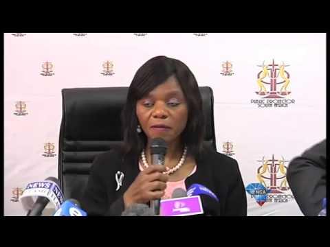 Thuli Madonsela addresses the media.