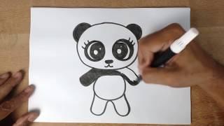 COMO DESENHAR UM URSO PANDA BEM FÁCIL - Desenhos fáceis para crianças