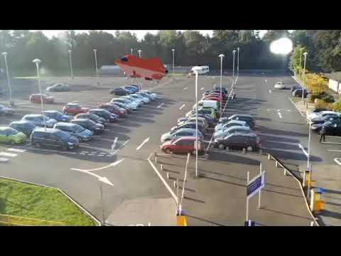 Spaceship landing in car park - camera tracking test