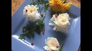 Карвинг - Хрустальная хризантема из редьки. Украшения из редьки