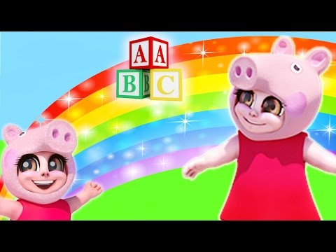 Peppy Pig ABC Phonics Song 🐷  for Kids 🐷  Animated Children's Cartoon 2016 | Best Pig ABC Song 🍎 🍊 🌈