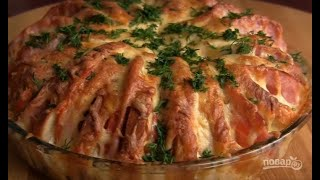 Пирог из батона с ветчиной и сыром Вкусные блюда рецепты с фото