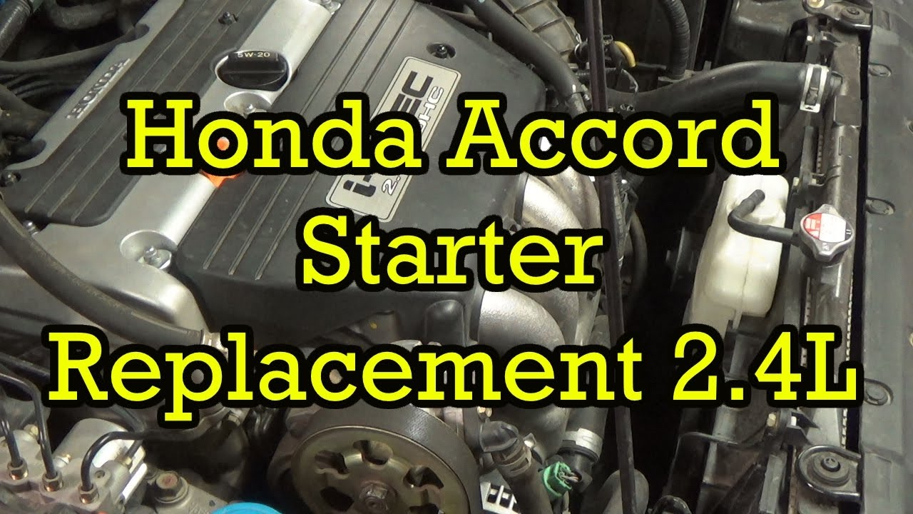 hight resolution of honda accord starter replacement 2 4l i4 2004 2003 2007 similar 2008 honda cr v engine diagram of belts in of honda 2 4 engine diagram