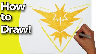 How to Draw  Pokemon Go Faction Team Instinct Emblem Logo  Step by Step