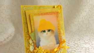 """""""Котёнок"""" открытка ручной работы"""