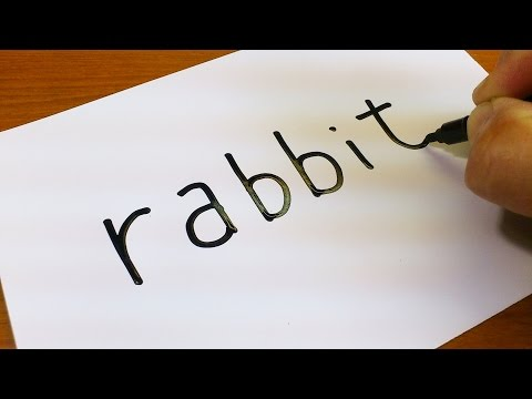 Very Easy ! How to turn words RABBIT into a Cartoon for kids -  Drawing doodle art on paper