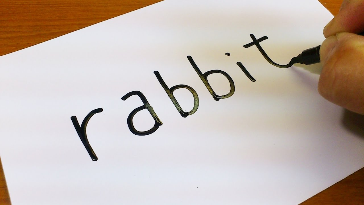 very easy   how to turn words rabbit into a cartoon for
