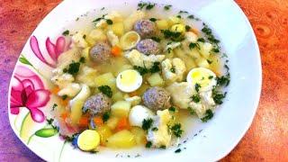 Суп с перепелиными яйцами и фрикадельками