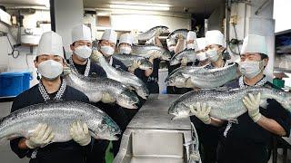 1년에 23만명이 먹고 간 초밥? 셰프만 25명인 역대급 배민 찜 전국 1등의 초밥집┃Huge Salmon Cutting\u0026Sushi / Seafood in Korea