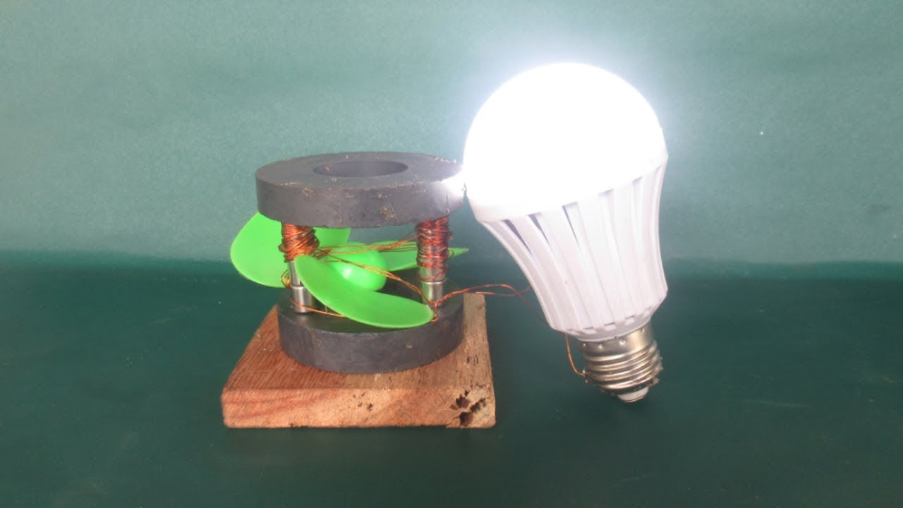 How to make free energy light bulbs generator with magnets dc motor experiment at home