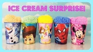 ICE CREAM CUP SURPRISE! PrincessesFrozen, Spiderman!