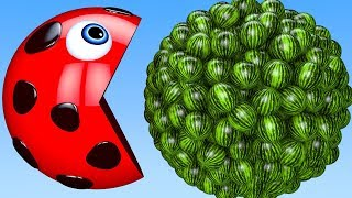 Learn Colors with PACMAN and Farm Watermelon Fruit Ladybug Surprise Toy Street Vehicle for Kid