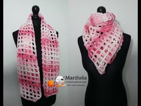 How To Crochet Lace Scarf Shawl Cowl Free Easy Pattern Tutorial For