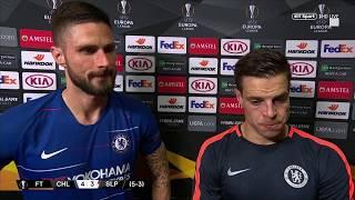 César Azpilicueta and Olivier Giroud react to Chelsea reaching the Europa League semi-finals