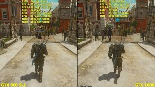GTX 1080 Vs GTX 980 SLI The Witcher 3 Blood And Wine 1440p Ultra Settings Frame Rate Comparison