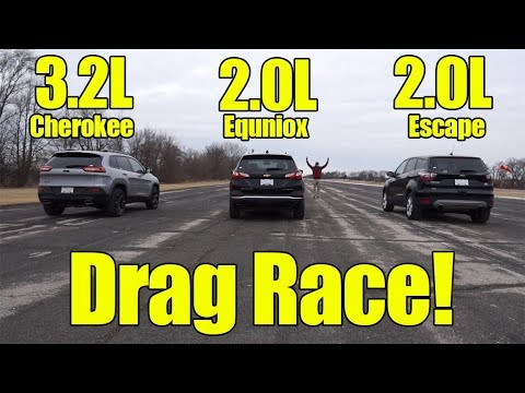 Jeep Cherokee vs Chevrolet Equinox vs Ford Escape Drag Race! It's a Compact SUV Showdown!