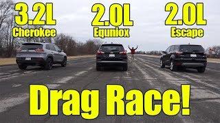 Jeep Cherokee vs Chevrolet Equinox vs Ford Escape Drag Race! It