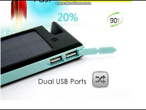 ES900 12000mAh Solar Charger Mobile Power Bank