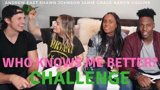 Who Knows Me Better Challenge *PAINFUL* w/ Jamie Grace + Aaron Collins | Shawn Johnson + Andrew East