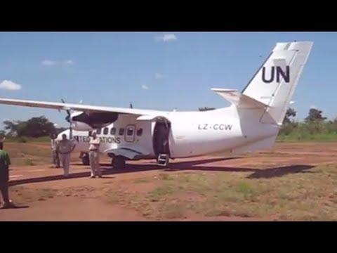 South Sudan Maridi Team Site UN Flight landing 2010-Gravel Runway Landing inside Jungle.