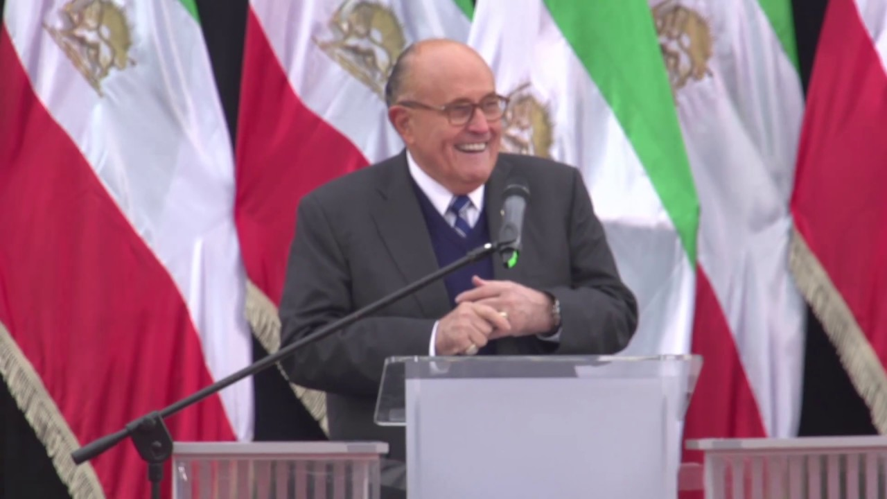 Mayor Rudy Giuliani speaks at Iranian opposition rally in Warsaw