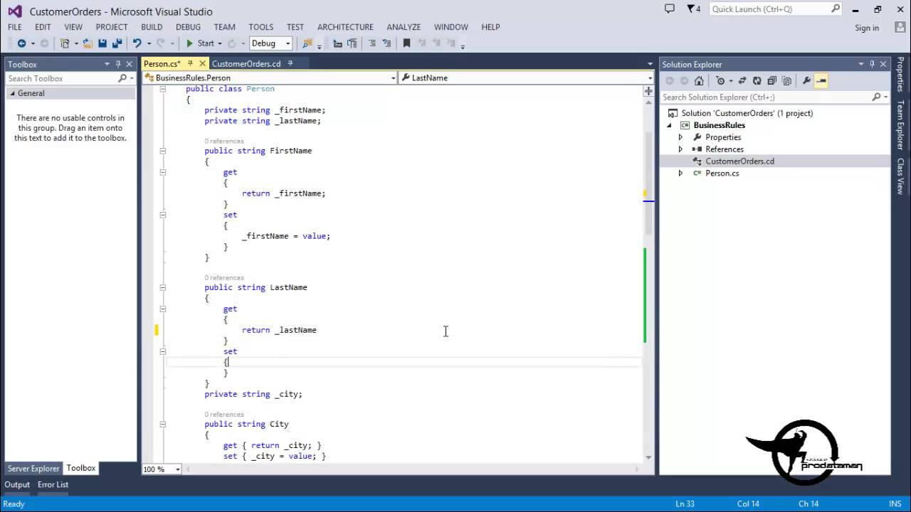 visual studio view class diagram motte and bailey labeled add methods constructors in a c net vs 2013 video