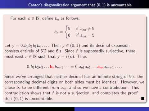 Section 5.2-5.5, part 8 (0,1) is uncountable:The diagonalization argument