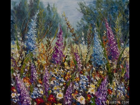 Flowers in meadow near forest a palette knife painting for Oil painting lessons near me