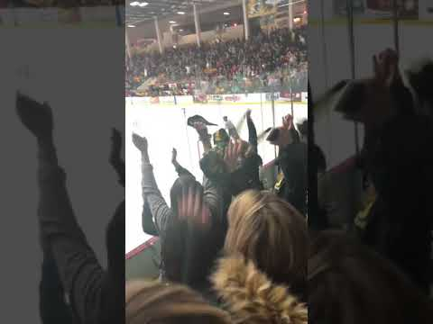 NMU Wildcats goaltender Atte Tolvanen scores from crease 12/7/18 vs Michigan Tech Huskies