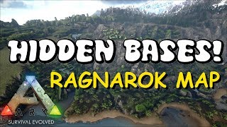 HIDDEN BASE LOCATIONS NEW RAGNAROK MAP! - Top 5 Hidden PvP Bases | ARK: Survival Evolved Bases 2017