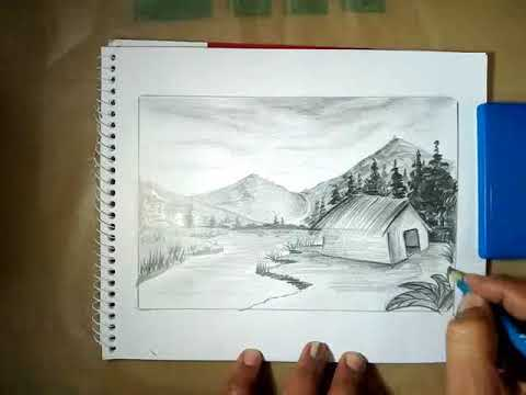 Landscape drawing with pencil step step tutorial.