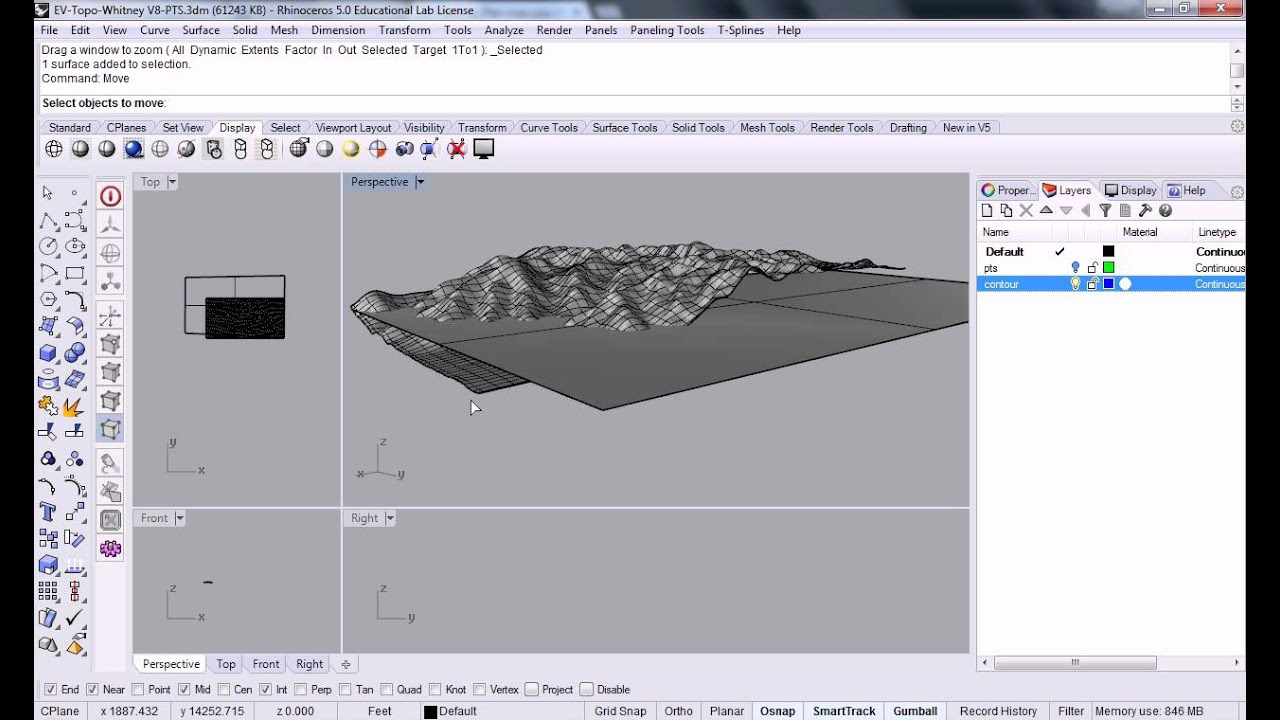 Rhino 77 Creating Contour Lines From Developable Landscape