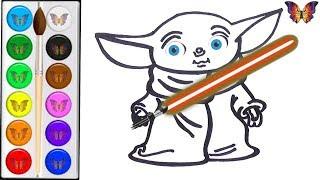 Как нарисовать МАЛЫША ЙОДУ / мультик раскраска МАЛЫШ ЙОДА / Раскраски малышам