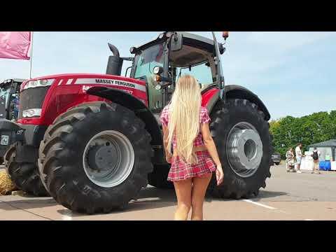 Pretty Girl Tractor Driver Massey Ferguson Deutz-Fahr Harvester Agriculture Machines Exhibition 2019