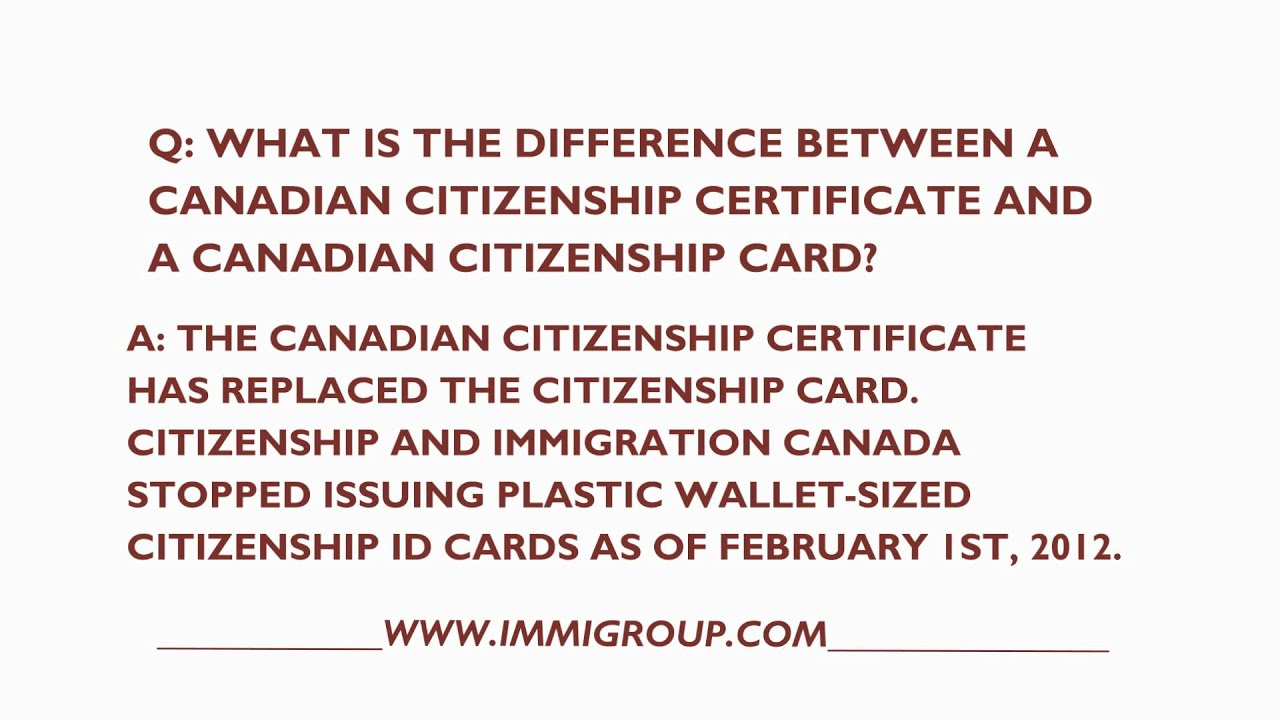 What is the difference between a canadian citizenship certificate what is the difference between a canadian citizenship certificate and card youtube xflitez Choice Image