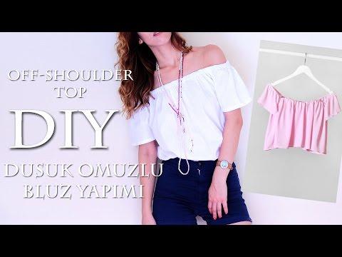 Düşük Omuzlu Bluz Nasıl Yapılır | Off Shoulder Top DIY