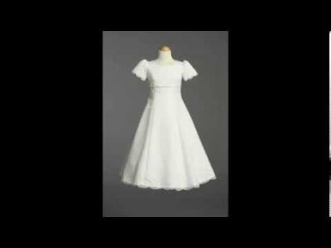 First Communion Dress With Satin Embroidery - LCD014