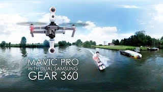 360 Jetsurf video with 2 Samsung Gear 360 (2017) mounted on top & bottom of a DJi Mavic Pro