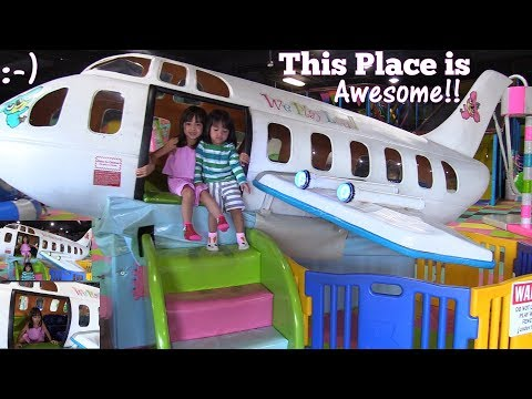 Children's Indoor Playground. Awesome Kiddie Airplane Ride! Kids' Seesaw, Kiddie Slides and More