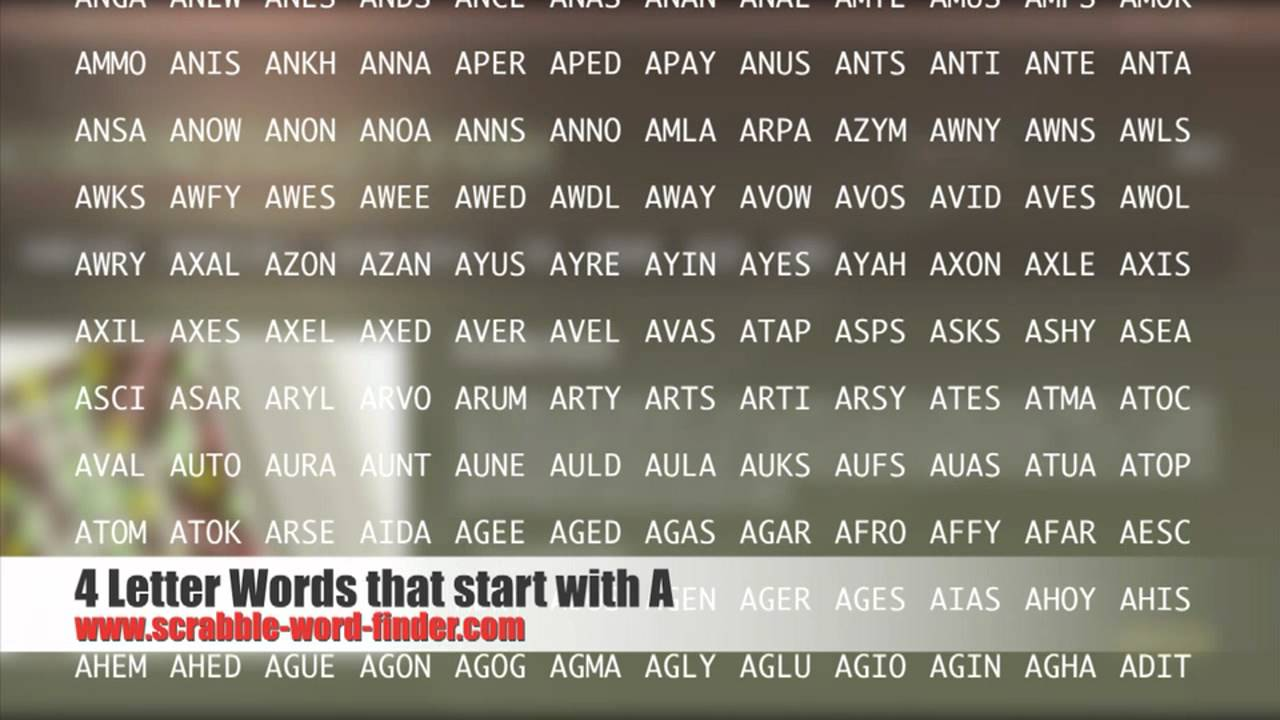 4 letter words that start with A   YouTube