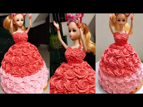 How To Make Doll Cake At Home   Doll Cake Design  1kg Cake   Step By Step