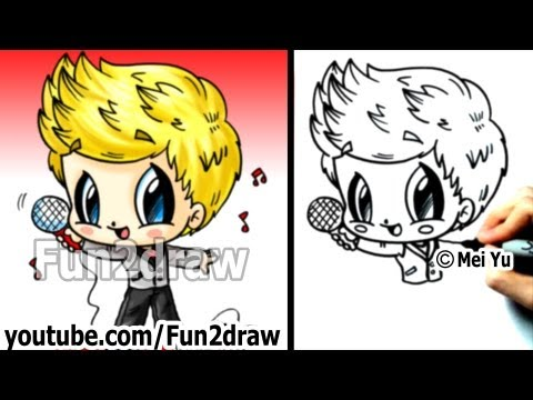 One Direction Niall Horan Drawing Tutorial - 1D Chibi (One Direction Drawings) - Cute Art - Fun2draw
