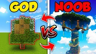 Minecraft NOOB Vs GOD SWAPPED TREE HOUSE BUILD CHALLENGE In Minecraft Compilation